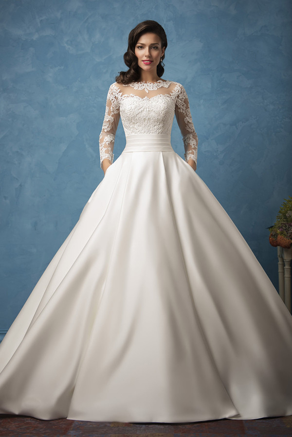 amelia sposa a line wedding dresses with long lace sleeves