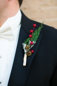 christmas inspired wedding boutionniere ideas for men