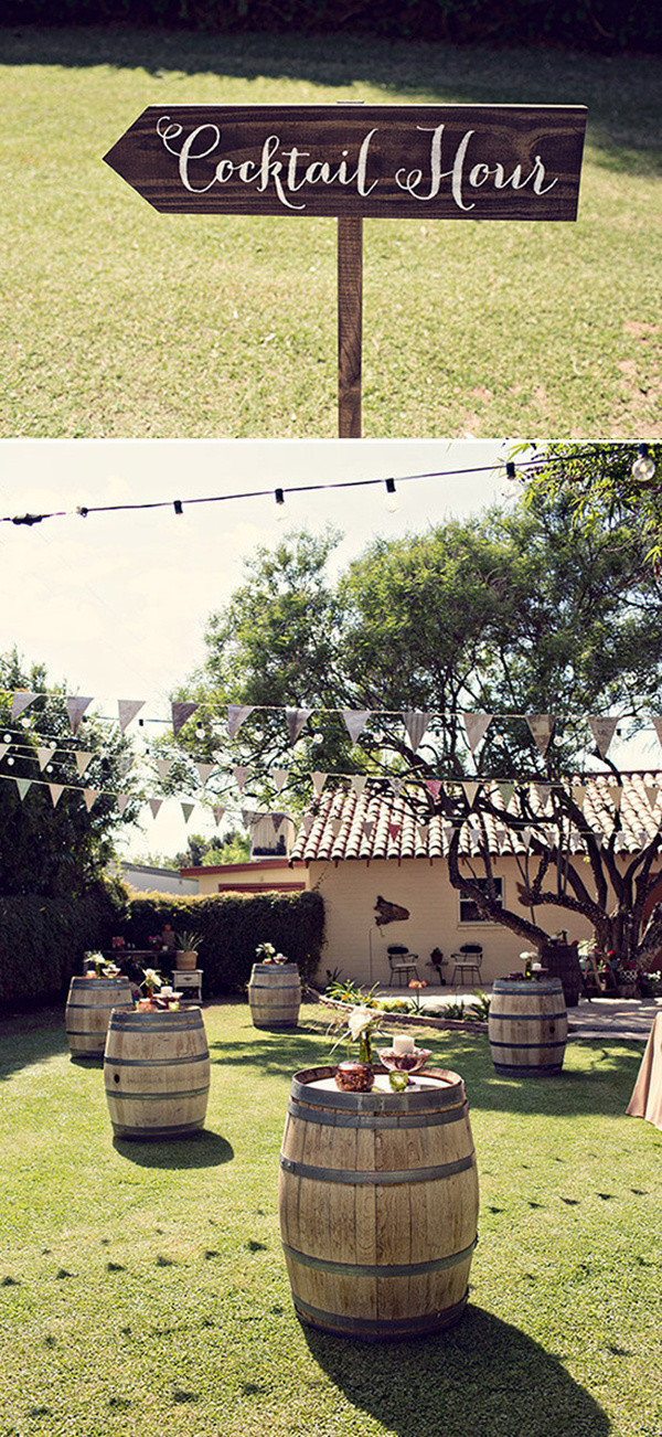 backyard wedding decoration ideas with wine barrels
