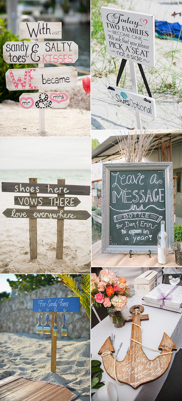 beach themed wedding sign ideas
