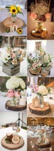 country rustic wedding centerpiece ideas with wood