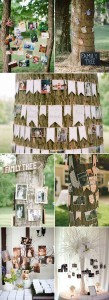 family tree photo display for rustic outdoor wedding ideas