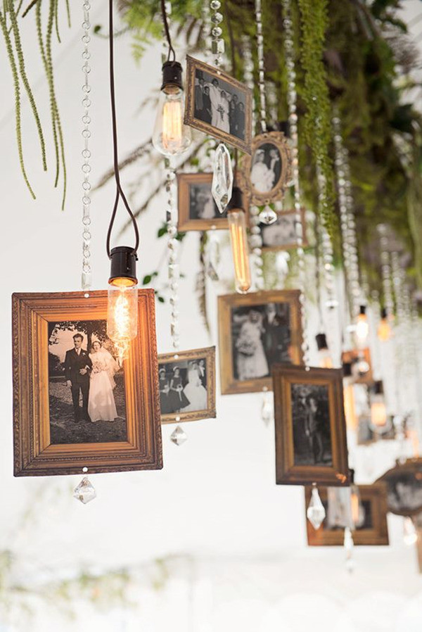 hanging photo display ideas for vintage weddings