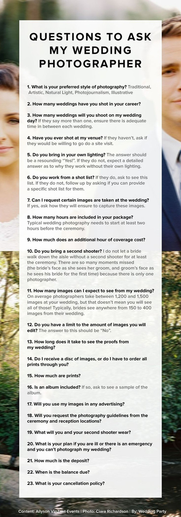 how to choose wedding photography ideas