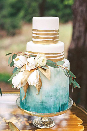 metallic gold and teal wedding cakes for 2017