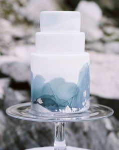omber watercolor blue and white wedding cakes