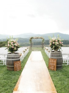 outdoor wedding aisle decoration ideas for ceremony with wine barrels