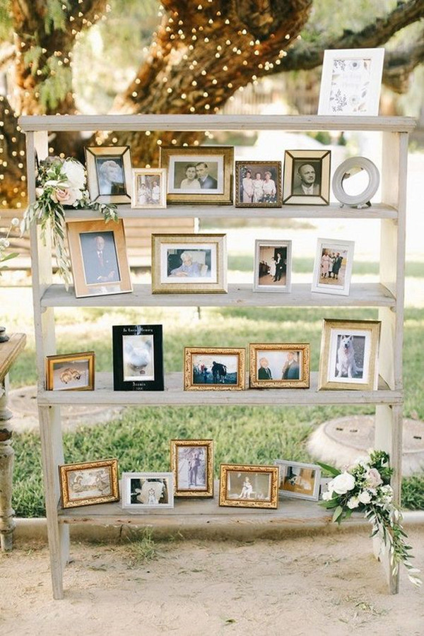 romantic outdoor wedding photo display ideas