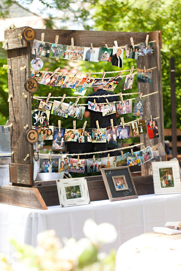 rustic wedding decoration ideas with photo display