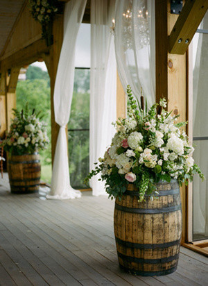 trending country wedding decoration ideas with wine barrels