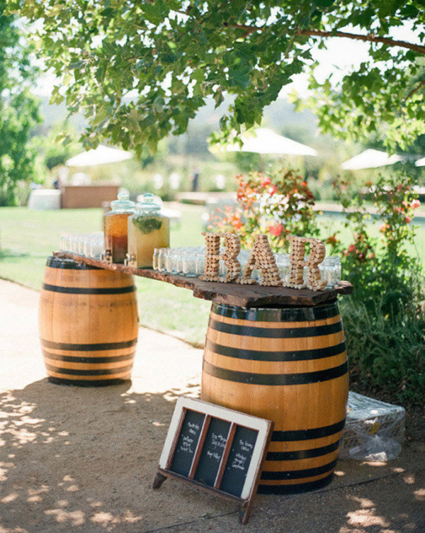 wine barrel wedding bar with drinks for country weddings