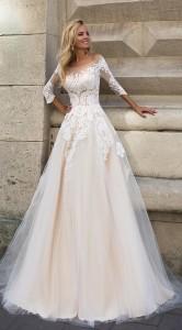 Oksana Mukha blush lace a line wedding gowns 2017 collection