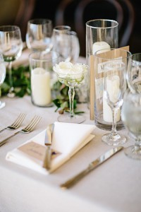 backyard themed wedding table settings