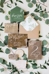 chic rustic botanical greenery wedding invitations