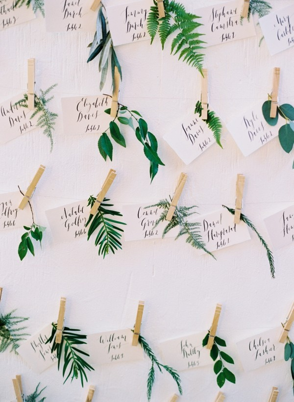creative botanical escort cards for greenery wedding ideas