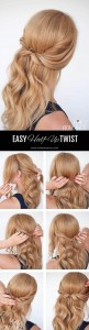 diy half up twist wedding hairstyle