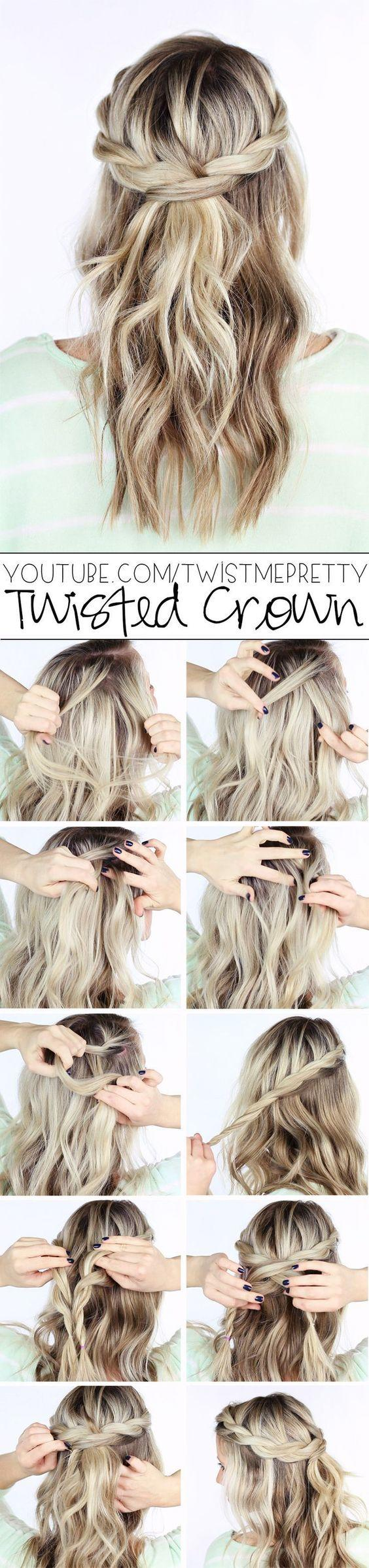 diy twisted crown wedding hairstyles
