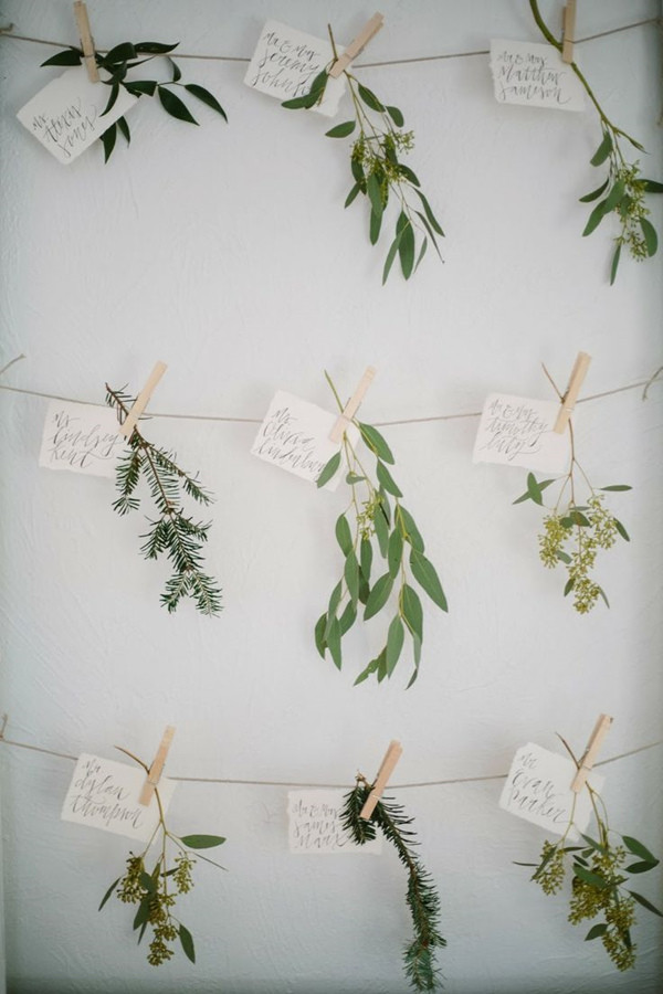 greenery botanical wedding escort card ideas