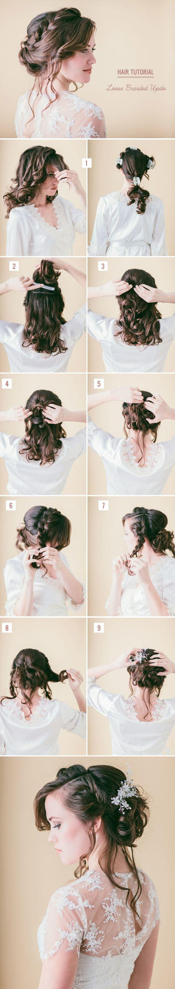 loose braided updo diy wedding hairstyle ideas