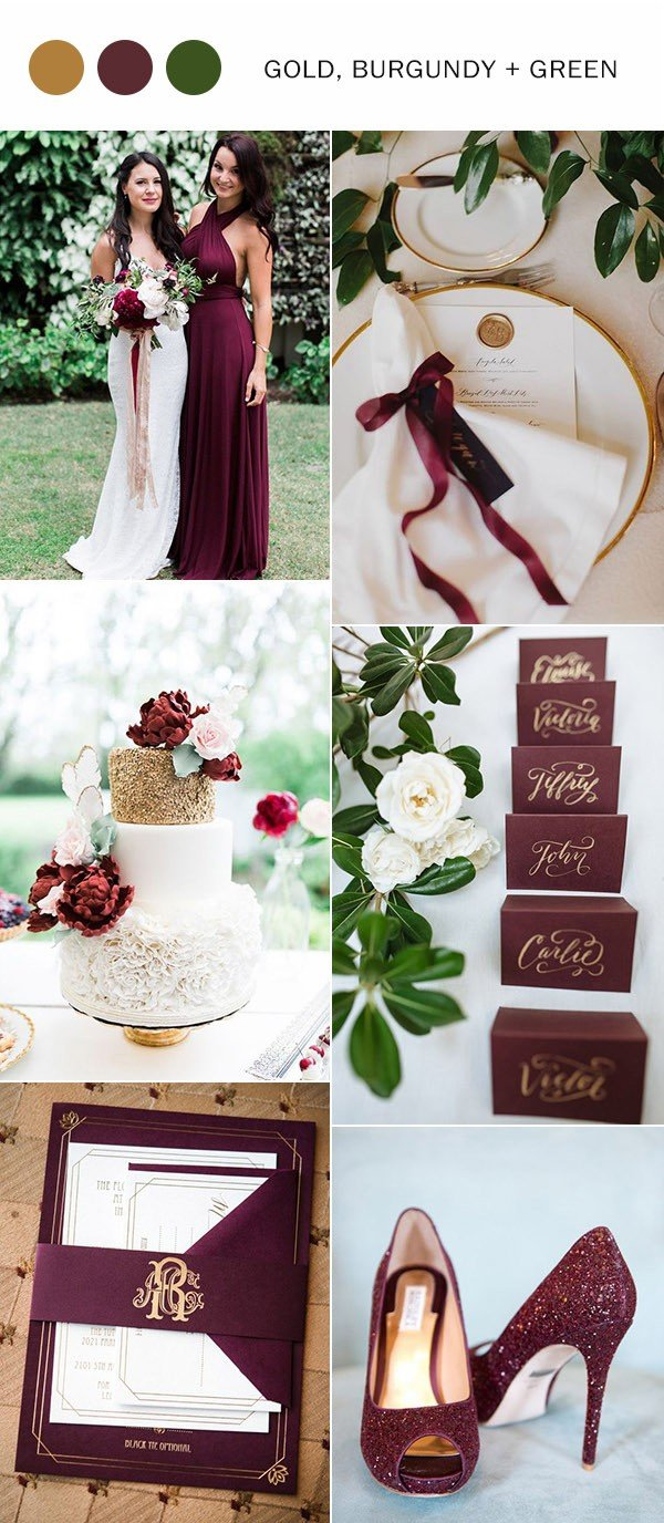2017-trending-gold-burgundy-and-green-wedding-color-ideas