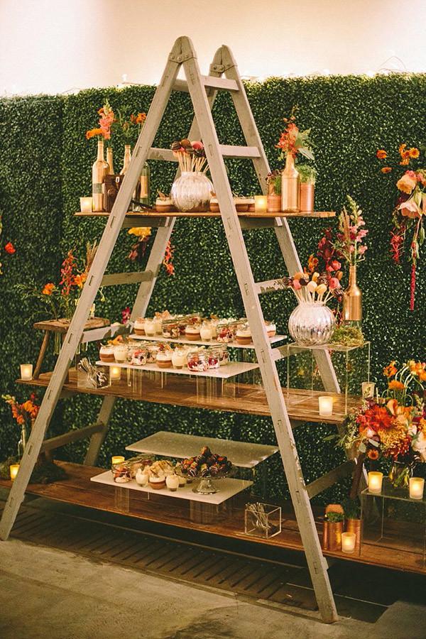 boho wedding buffet ideas with vintage ladders