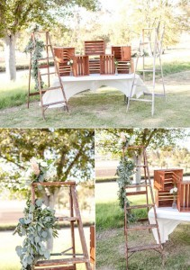 chic rustic wedding backdrops with ladders and wooden crates