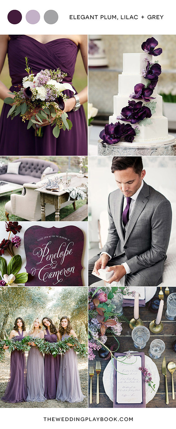 elegant plum lilac and gray wedding color ideas