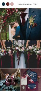 fall wedding colors 2017 navy blue marsala and pink