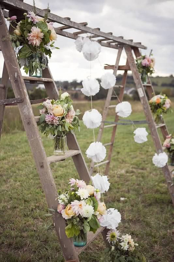 garden wedding arch ideas with ladders
