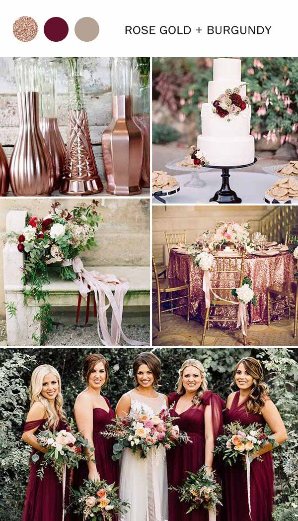 rose gold and burgundy fall wedding colors 2017