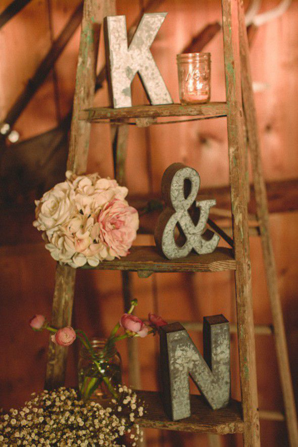 rustic vintage wedding decoration ideas with ladders