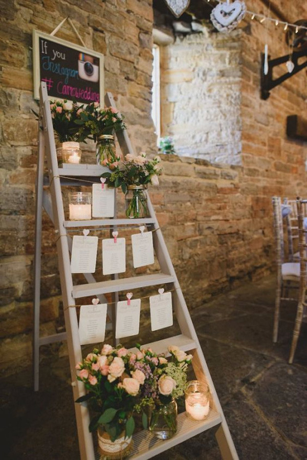 vintage wedding decoration ideas with ladders for tabling seating plan