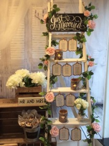 wedding table seating plan display with ladders
