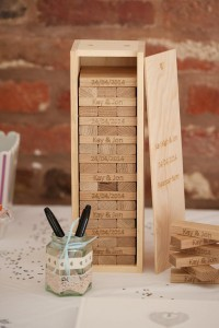 Jenga style wedding guest book ideas