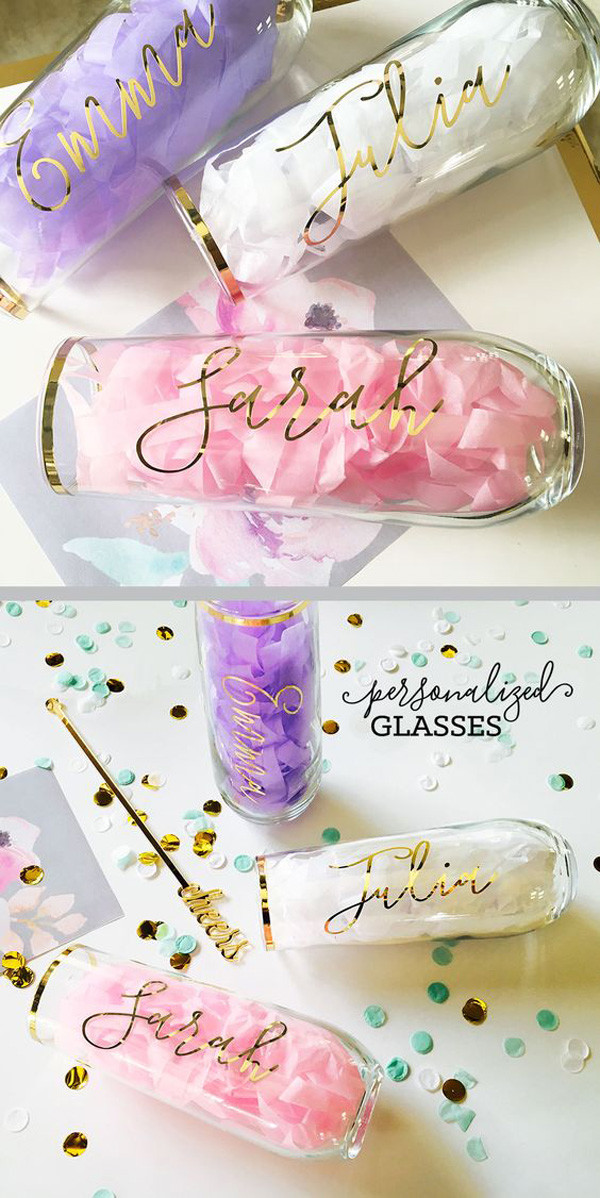 Personalized Champagne Flutes bridesmaid gift ideas