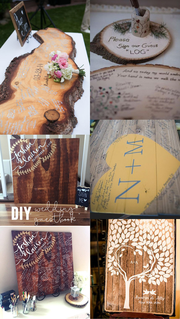 country rustic wedding guest books signed on wood