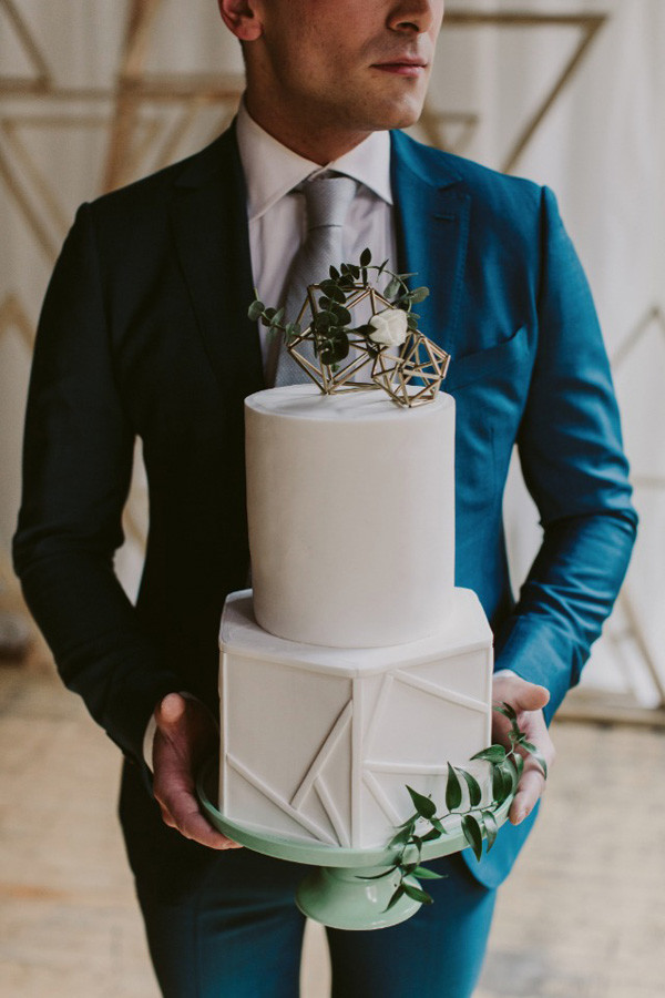 geometric modern wedding cakes