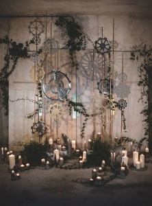 industrial themed wedding ceremony backdrop ideas