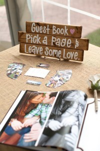 romantic wedding guest book ideas signed on engagment photo album