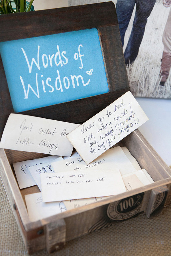 words of wisdon unqiue wedding guest book ideas