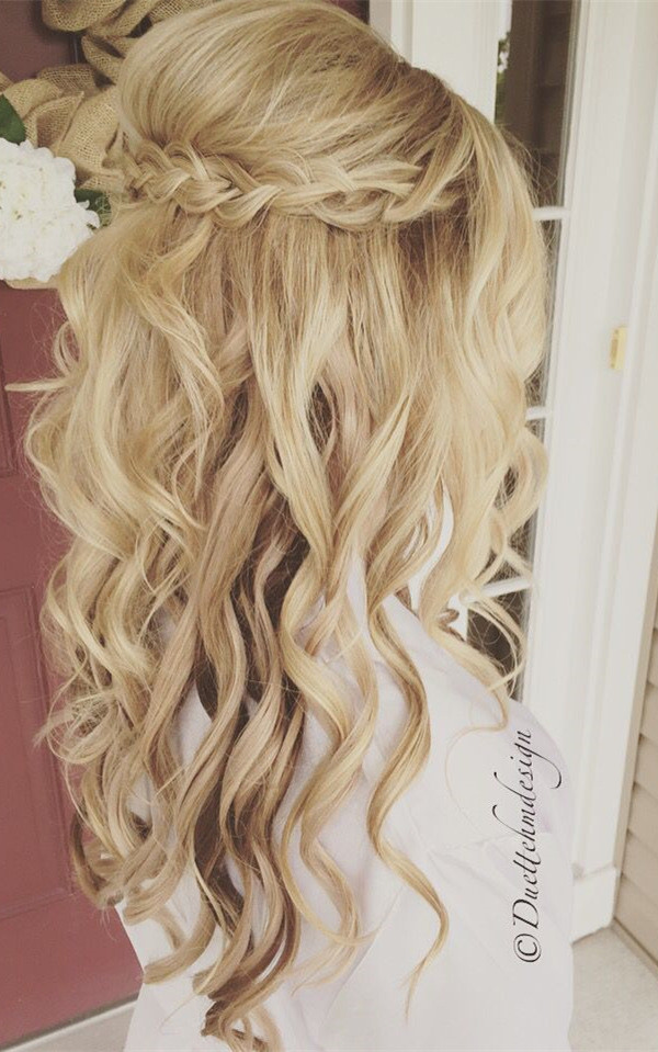 beautiful half up half down wedding hairstyle ideas