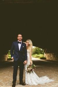 boho themed bride and groom wedding photo