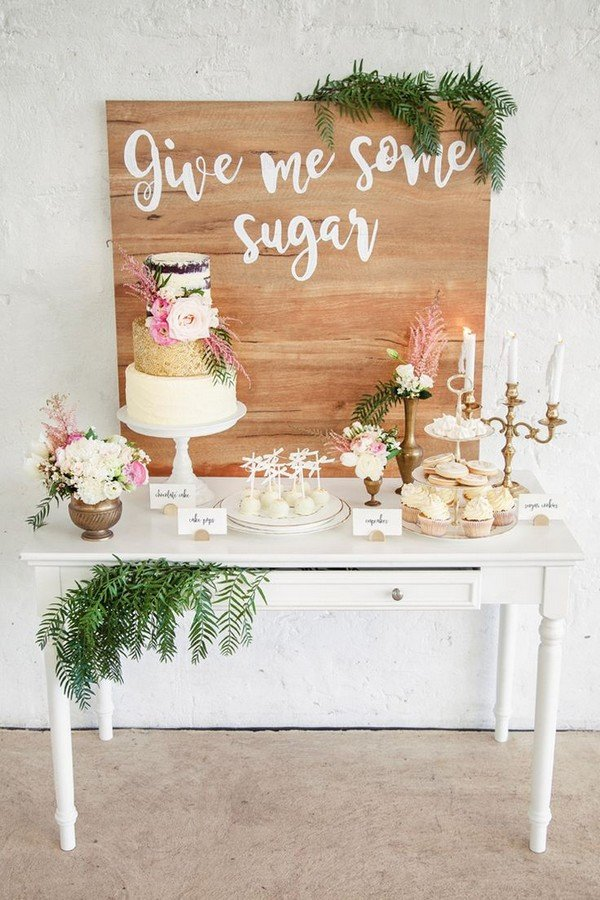 chic rustic wedding dessert table ideas