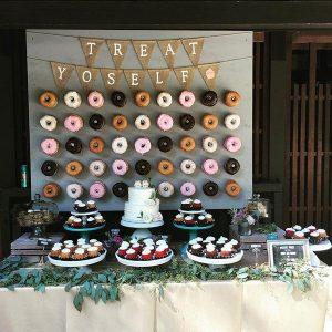 donut wall vintage wedding dessert table decoration ideas