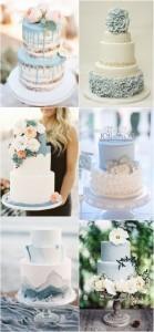 dusty blue wedding cake ideas