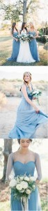 dusty blue wedding color inspired bridesmaid dresses