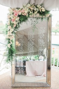 elegant mirror wedding seating plan ideas with floral
