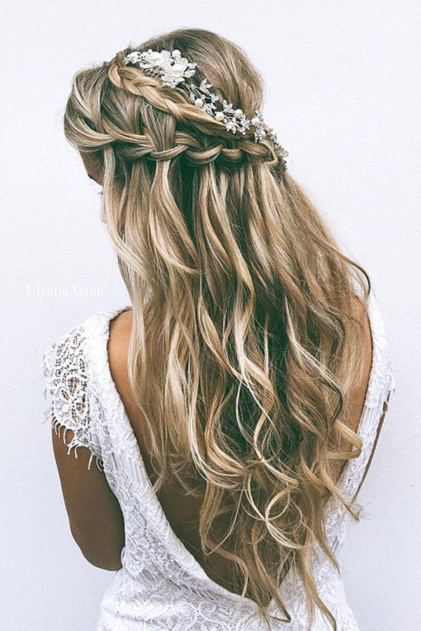 half up half down wedding hairstyle for long hair
