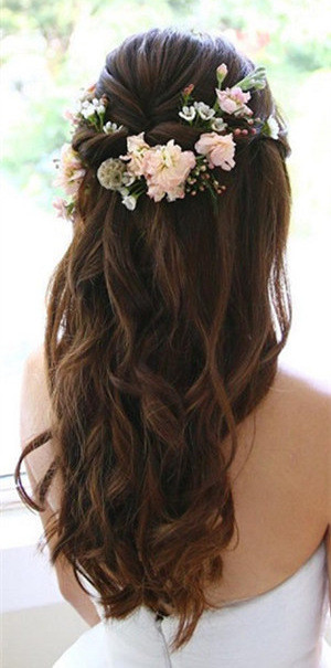 half up half down wedding hairstyles with floral
