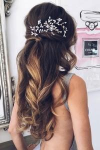half up half down wedding hairstyles with headpiece